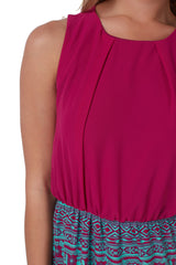 Magenta Tribal Print Colorblock Dress
