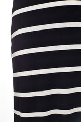 Black White Striped Maxi Skirt