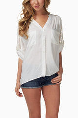 White Lace Accent Blouse