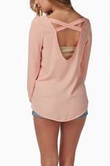 Light Pink Chiffon Open Back Blouse
