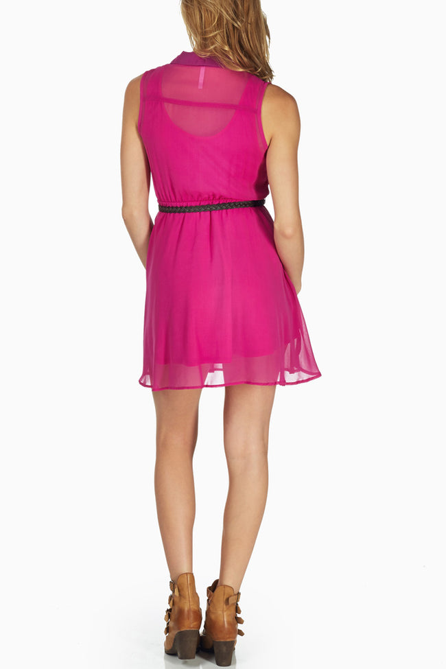Magenta Chiffon Belted Dress