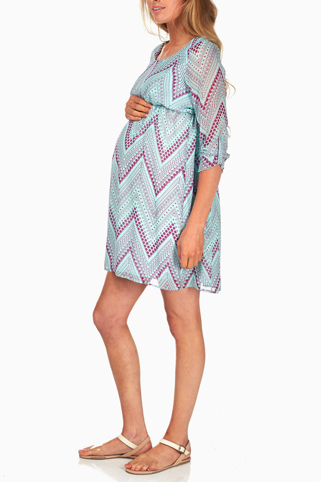 Mint Green Purple Chevron Printed Maternity Dress