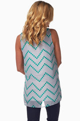 Grey Green Chevron Chiffon Maternity Tank