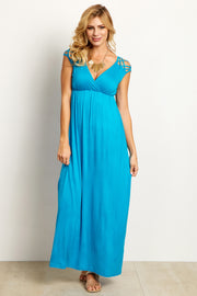 Turquoise Woven Shoulder Maxi Dress