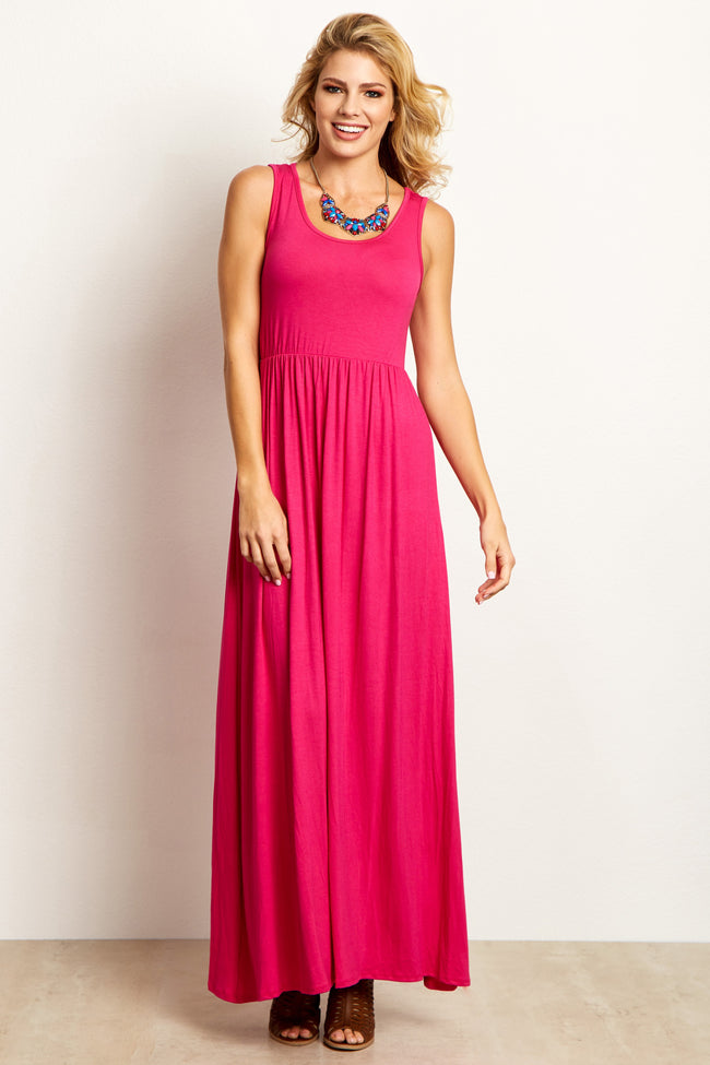 Fuchsia Basic Sleeveless Maxi Dress
