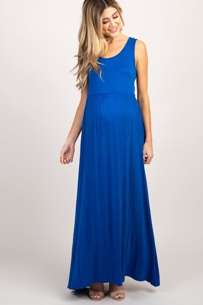 PinkBlush Royal Blue Basic Sleeveless Maternity Maxi Dress