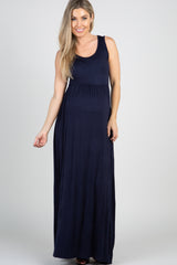 Navy Basic Sleeveless Maternity Maxi Dress