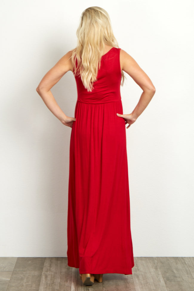 Red Basic Sleeveless Maternity Maxi Dress