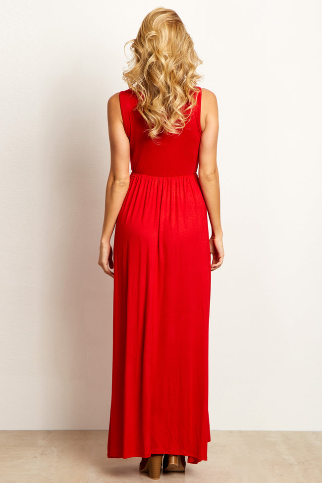 Red Basic Sleeveless Maxi Dress