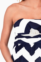 Navy Blue White Chevron Maternity Maxi Dress