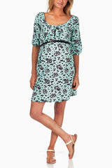 Mint Green Black Print Belted Maternity Dress