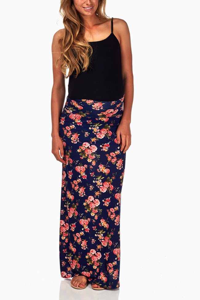 Navy Blue Floral Printed Maternity Maxi Skirt