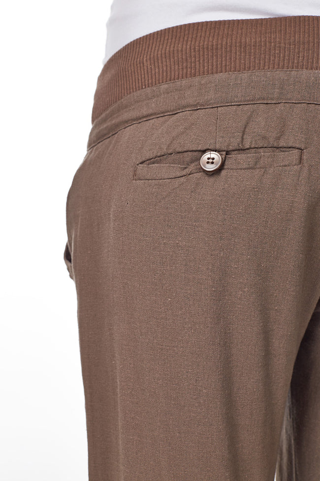 Mocha Linen Maternity Yoga Pants