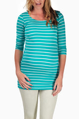 Mint Green White Striped Fitted Maternity Top