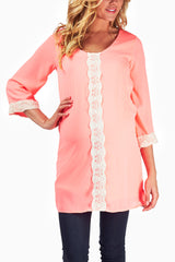 Pink Crochet Accent Maternity Tunic