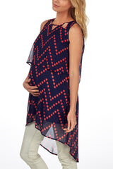Navy Blue Red Chevron Chevron Hi-Low Maternity Tunic