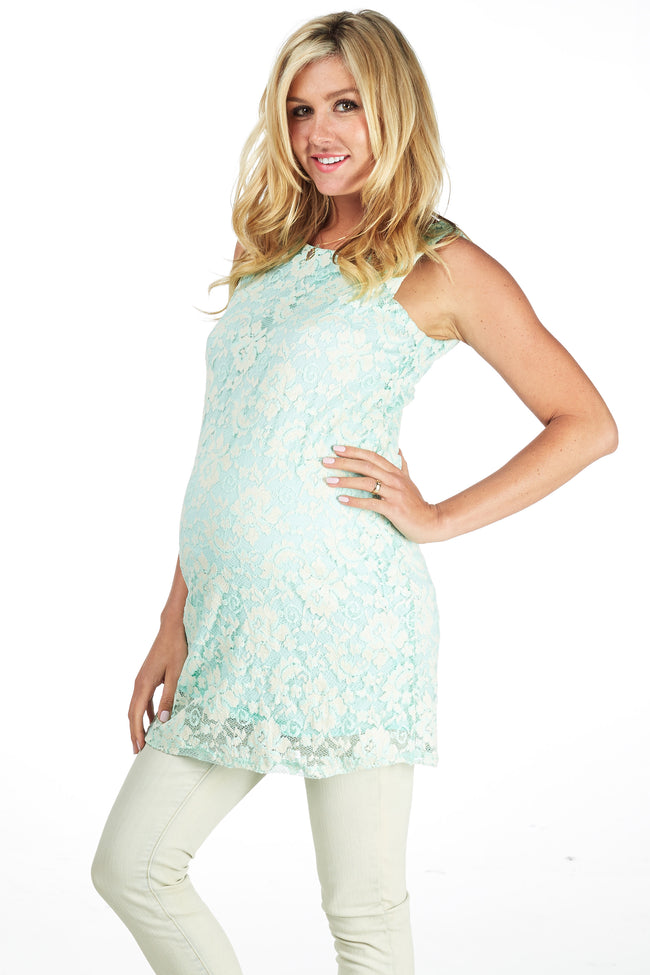 Mint Green Lace Maternity Tank Top