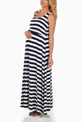 Navy Blue White Striped Maternity Maxi Dress