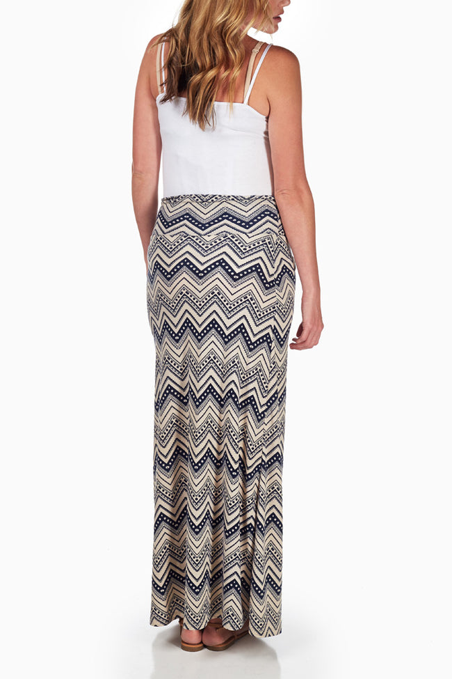 Navy Blue Cream Tribal Printed Maternity Maxi Skirt