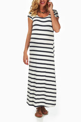 White Grey Striped Maternity Maxi Dress