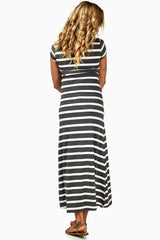 Grey White Striped Maternity Maxi Dress