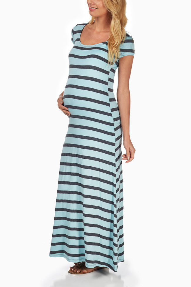 Light Blue Grey Striped Maternity Maxi Dress