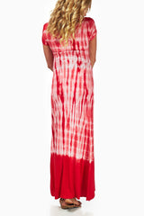 Red Tie Dye Maternity Maxi Dress
