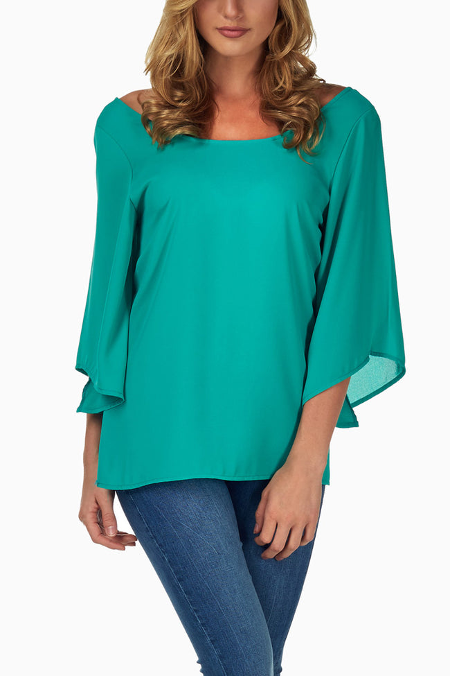 Emerald Crochet Back Blouse