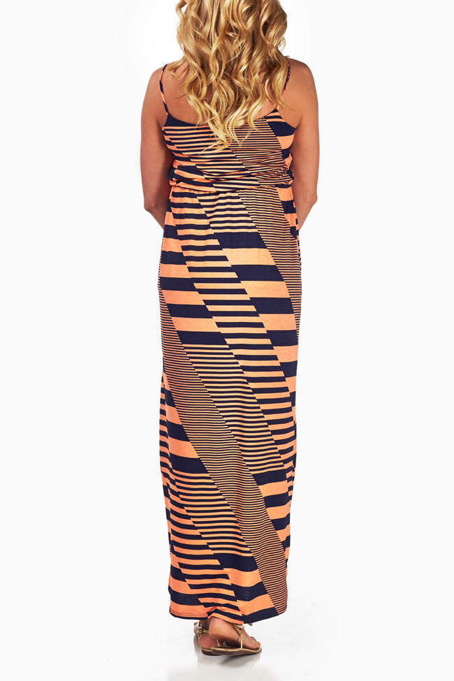 Coral Stripe Print Maternity Maxi Dress