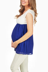 Blue Chiffon Textured Maternity Blouse