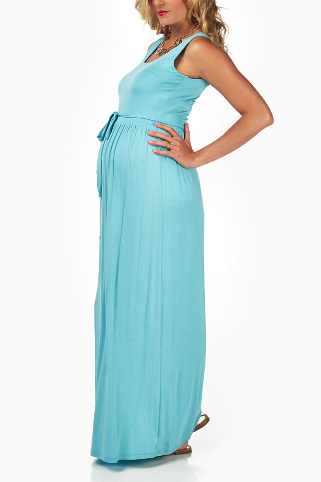 Light Blue Sash Tie Maternity Maxi Dress
