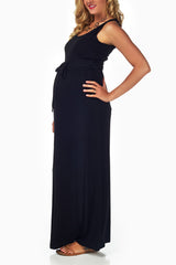 Black Sash Tie Maternity Maxi Dress