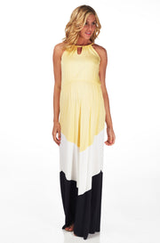 Yellow White Black Colorblock Cutout Front Maternity Maxi Dress