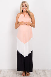 Pink White Black Colorblock Maternity Maxi Dress