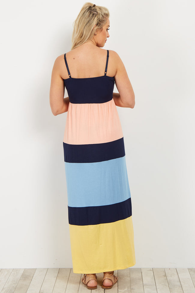 Pink Blue Yellow Colorblock Maternity Maxi Dress