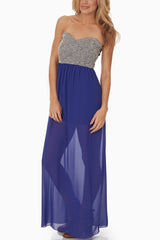Blue Tribal Print Colorblock Maxi Dress