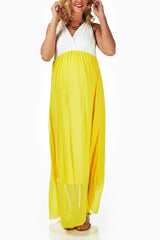 Yellow Chiffon Colorblock Maternity/Nursing Maxi Dress