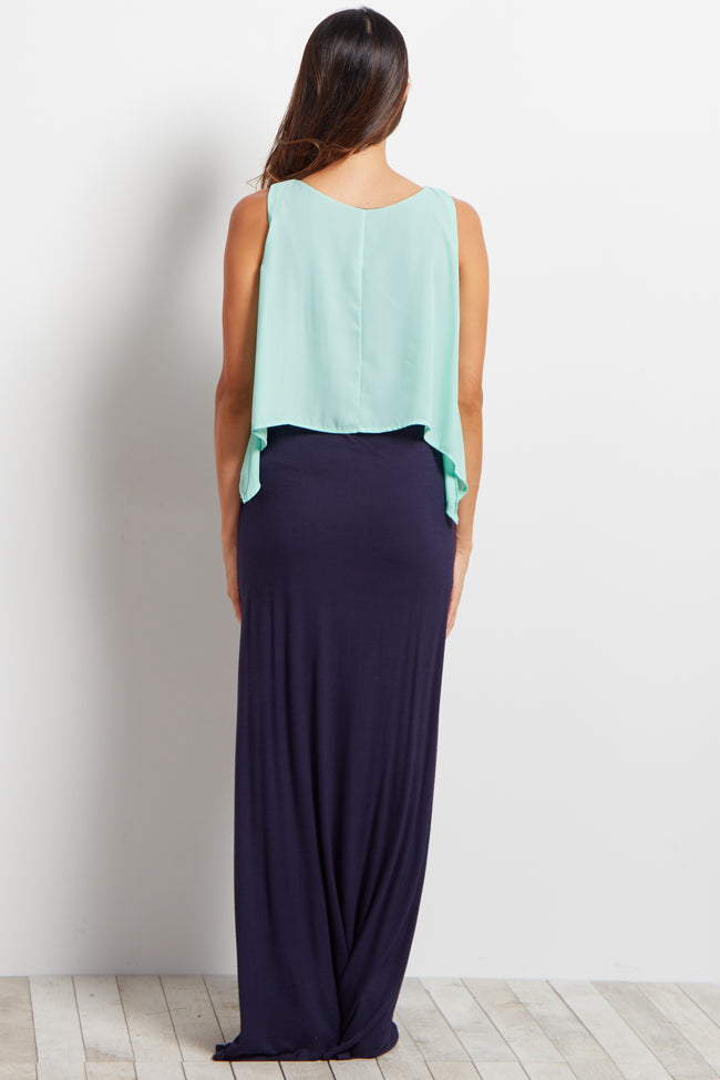 Mint Overlay Maternity Maxi Dress