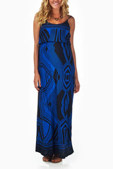 Blue Black Printed Maternity Maxi Dress
