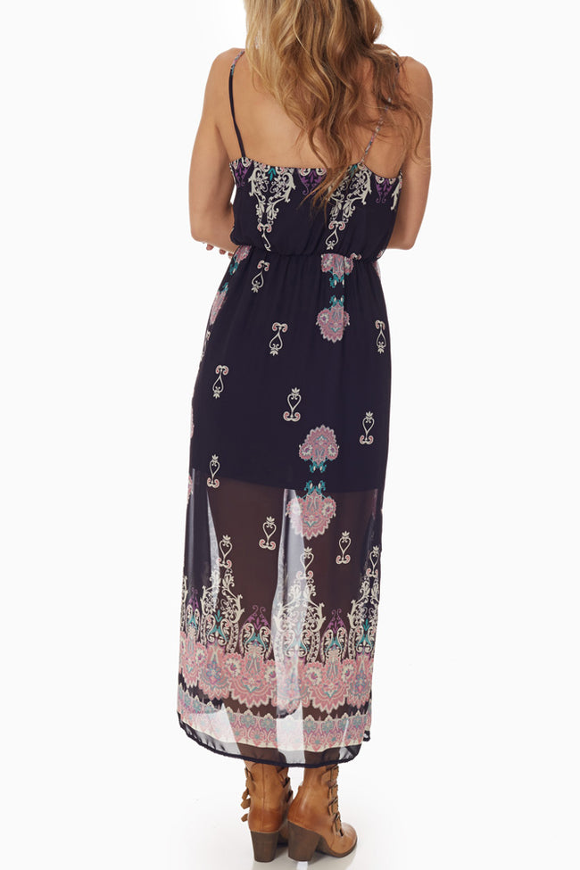 Navy Blue Chiffon Paisley Printed Maxi Dress