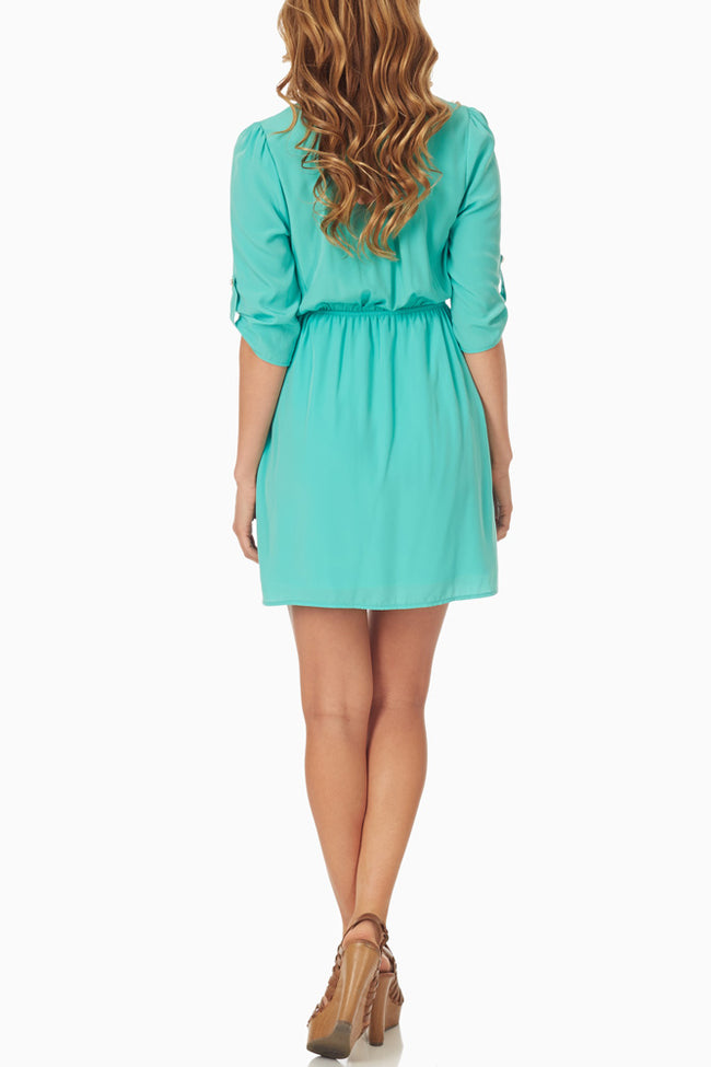 Mint Green Draped Dress