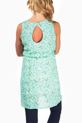 Mint Green Floral Print Open Back Maternity Tunic