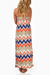 Taupe Chevron Draped Strapless Maternity Maxi Dress