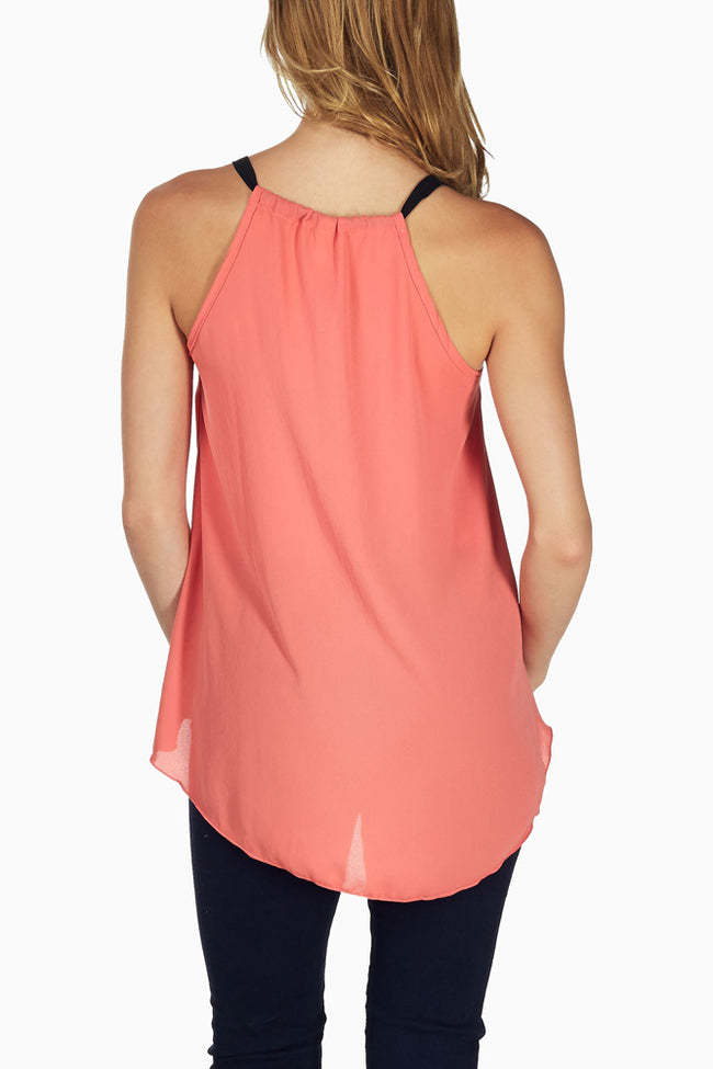 Coral Flowy Tank Top