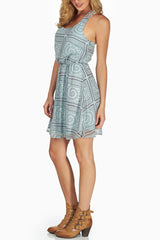 Aqua Brown Tribal Print Dress