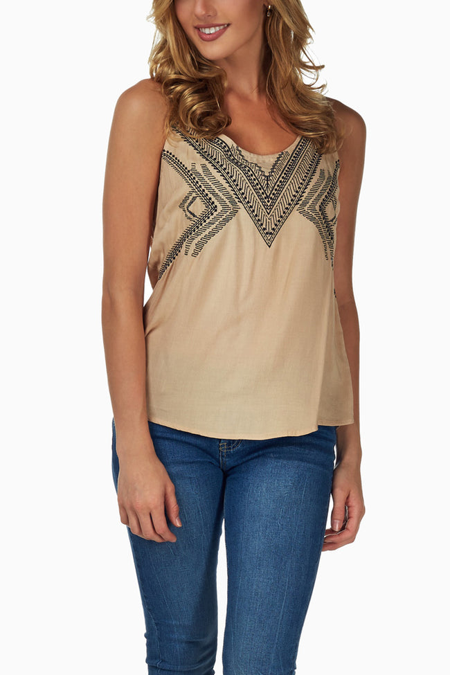 Beige Black Tribal Embroidered Tank Top