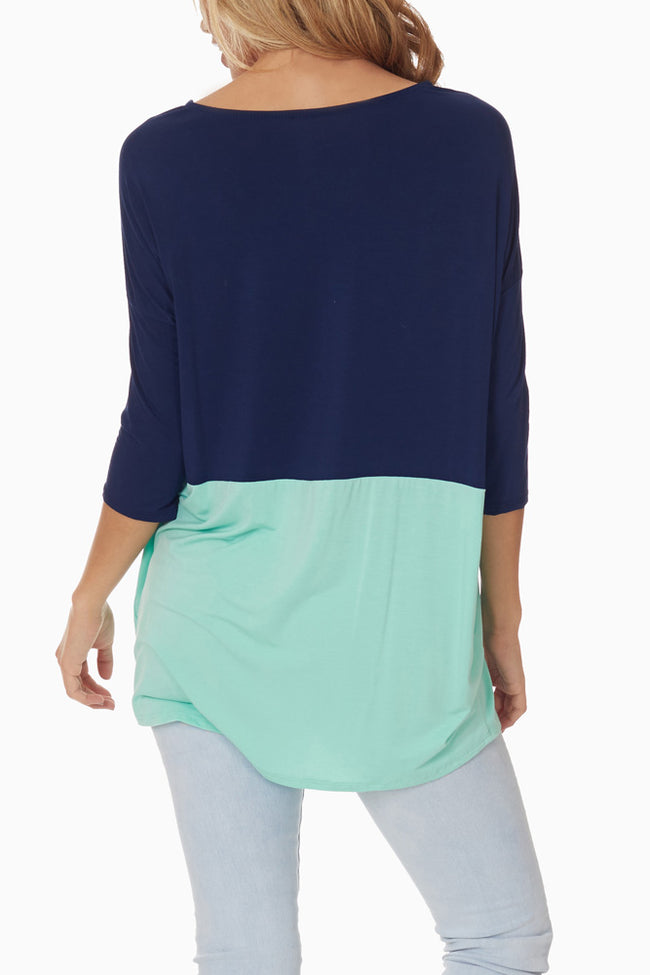 Navy Blue Mint Green Colorblock Top