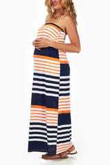 Navy Blue Orange Striped Strapless Maxi Dress