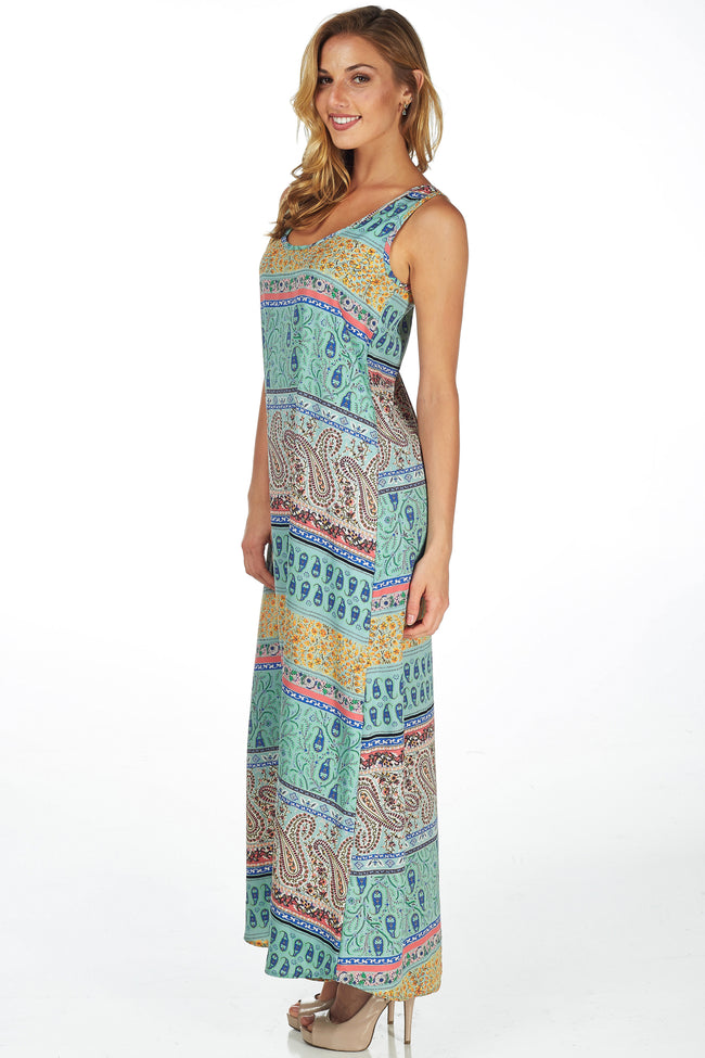 Mint Green Paisley Printed Maxi Dress