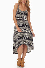 Black White Tribal Print Hi-Low Dress